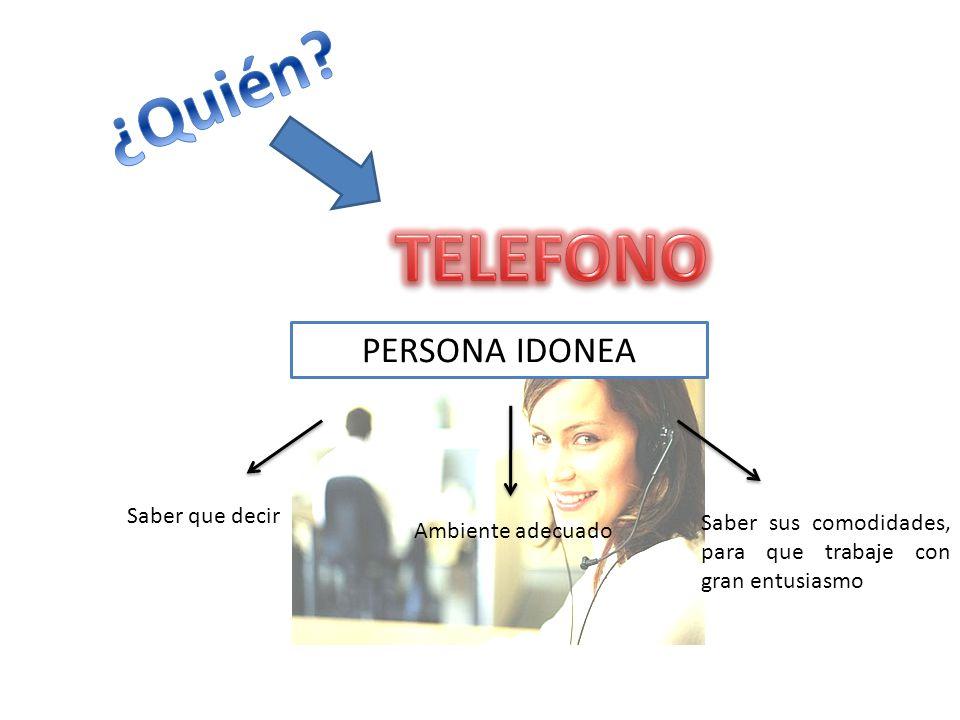 ¿Quién TELEFONO PERSONA IDONEA Saber que decir