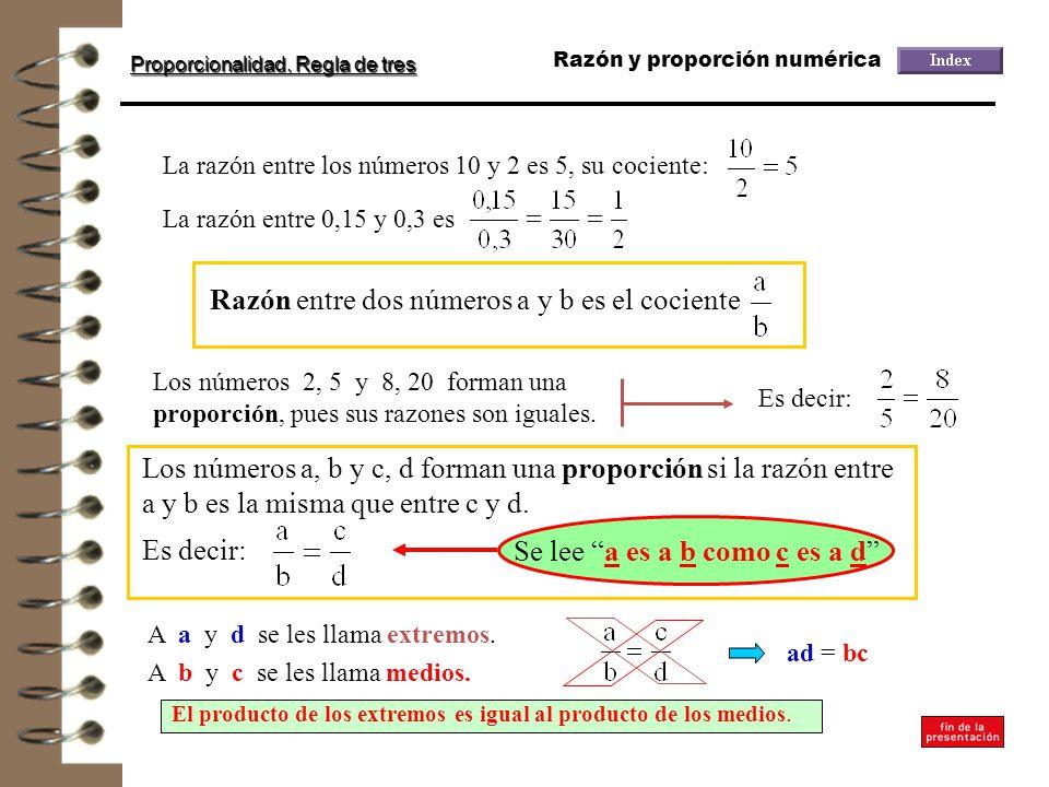 Razón entre dos números a y b es el cociente