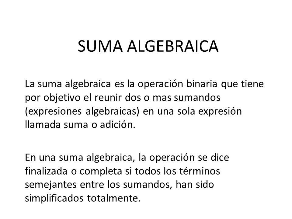SUMA ALGEBRAICA