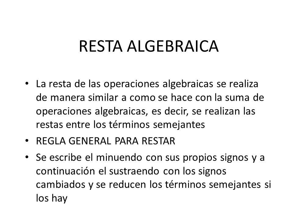 RESTA ALGEBRAICA