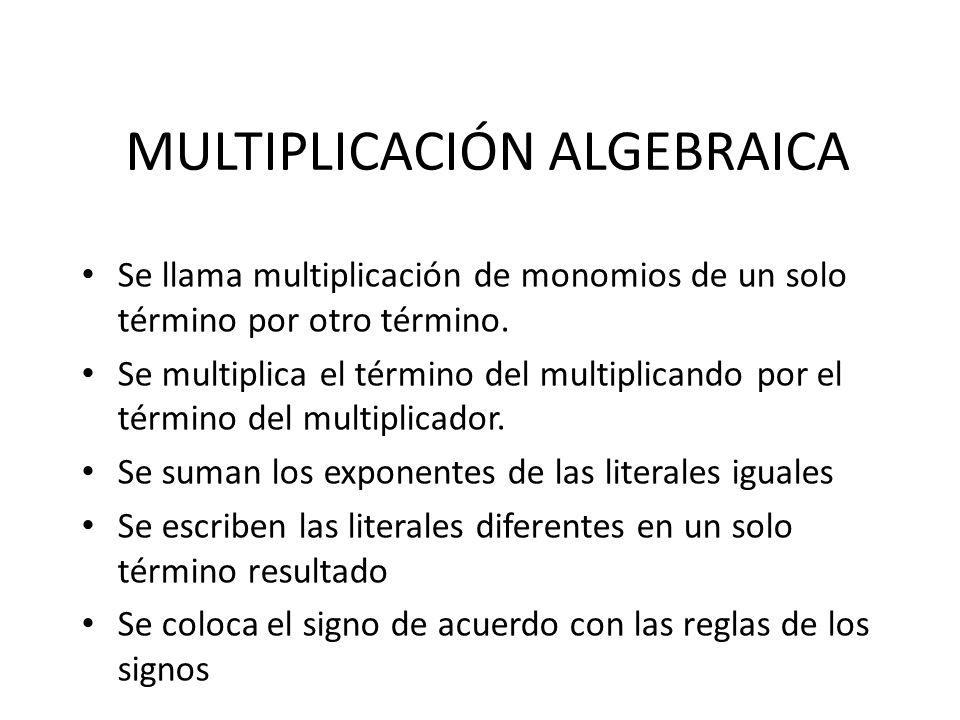 MULTIPLICACIÓN ALGEBRAICA