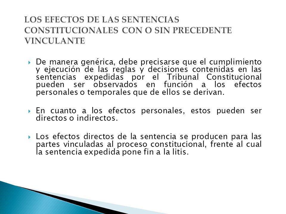 LOS EFECTOS DE LAS SENTENCIAS CONSTITUCIONALES CON O SIN PRECEDENTE VINCULANTE