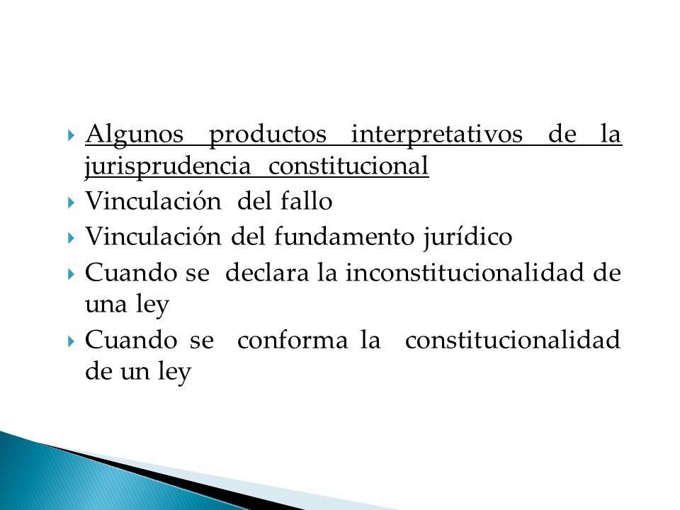 Algunos productos interpretativos de la jurisprudencia constitucional