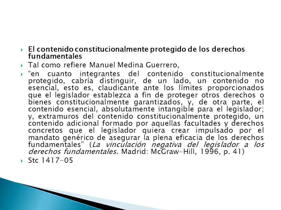 El contenido constitucionalmente protegido de los derechos fundamentales