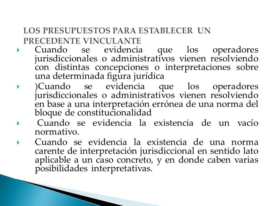 LOS PRESUPUESTOS PARA ESTABLECER UN PRECEDENTE VINCULANTE