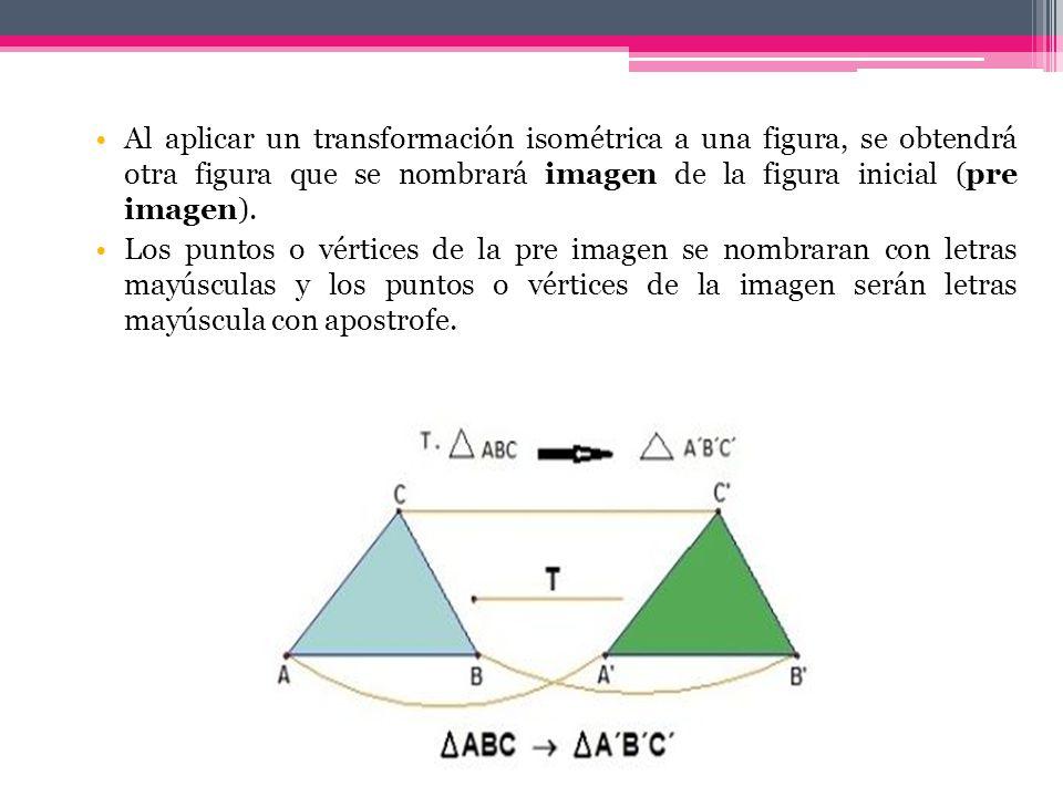 Al aplicar un transformación isométrica a una figura, se obtendrá otra figura que se nombrará imagen de la figura inicial (pre imagen).