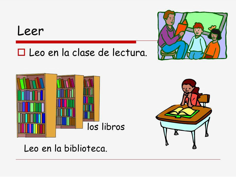 Leer Leo en la clase de lectura. los libros Leo en la biblioteca.