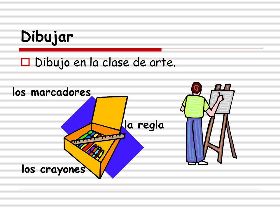 Dibujar Dibujo en la clase de arte. los marcadores la regla