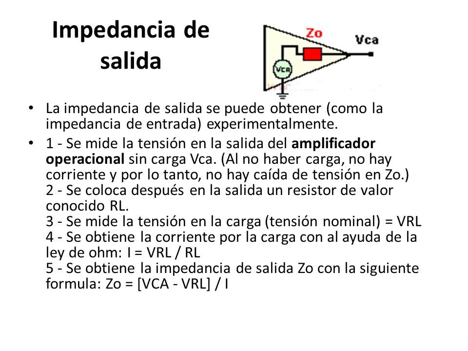 Impedancia de salida La impedancia de salida se puede obtener (como la impedancia de entrada) experimentalmente.