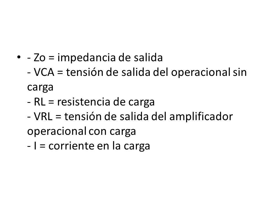 - Zo = impedancia de salida - VCA = tensión de salida del operacional sin carga - RL = resistencia de carga - VRL = tensión de salida del amplificador operacional con carga - I = corriente en la carga