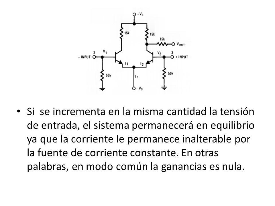Si se incrementa en la misma cantidad la tensión de entrada, el sistema permanecerá en equilibrio ya que la corriente Ie permanece inalterable por la fuente de corriente constante.
