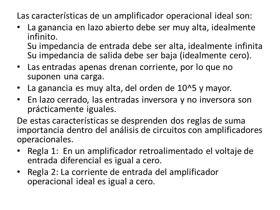 Las características de un amplificador operacional ideal son: