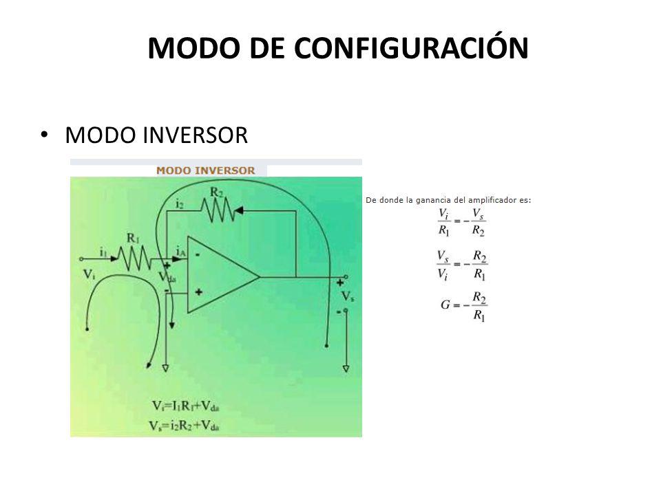 MODO DE CONFIGURACIÓN MODO INVERSOR