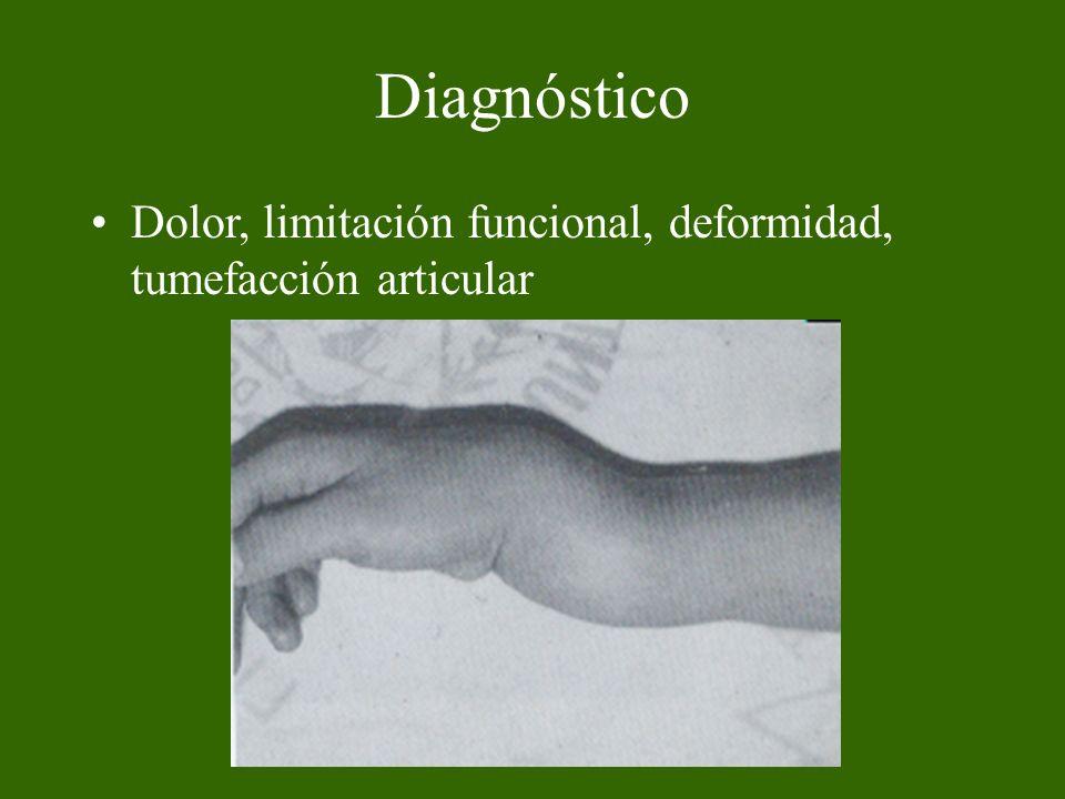 Diagnóstico Dolor, limitación funcional, deformidad, tumefacción articular