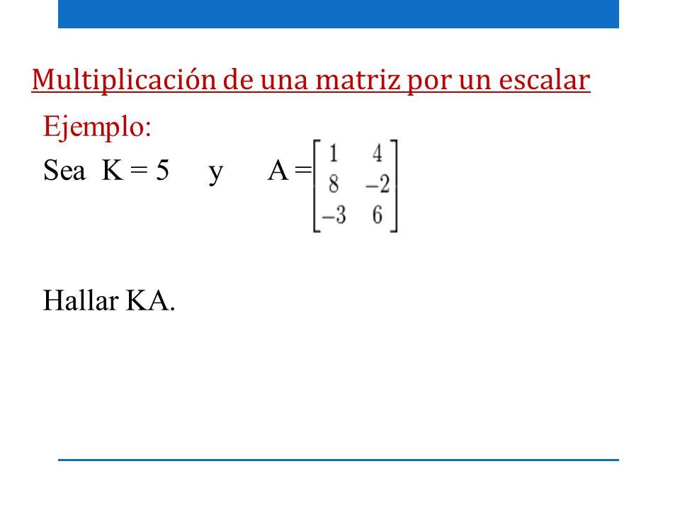 Multiplicación de una matriz por un escalar