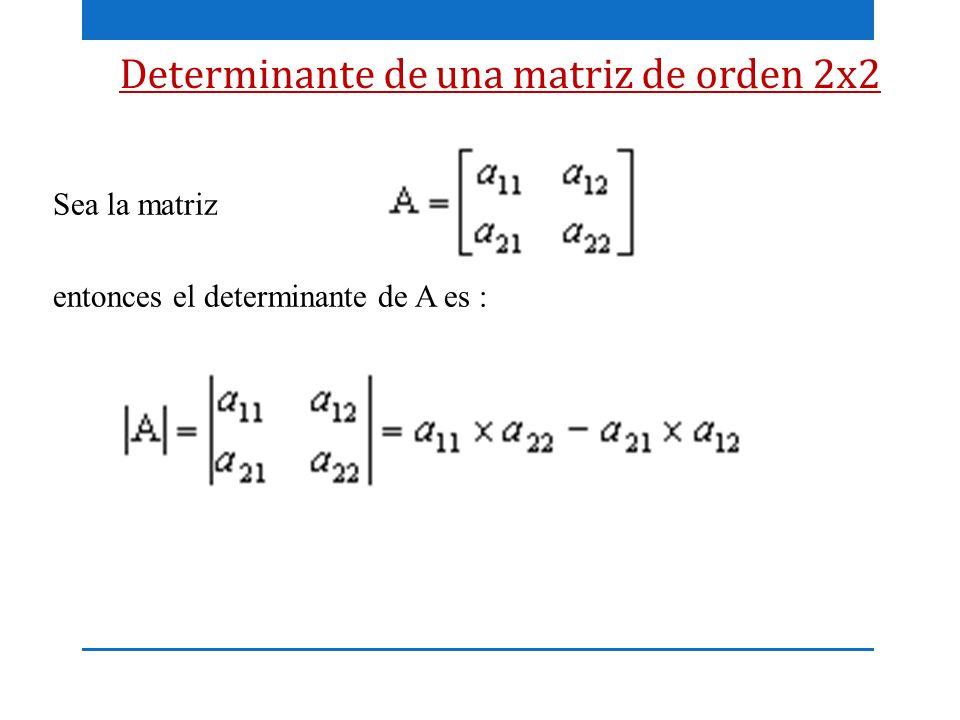 Determinante de una matriz de orden 2x2