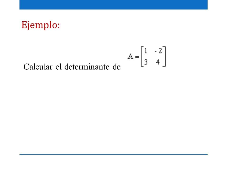 Ejemplo: Calcular el determinante de