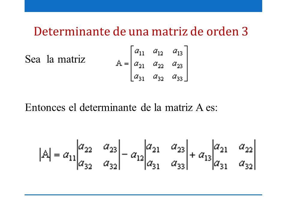 Determinante de una matriz de orden 3