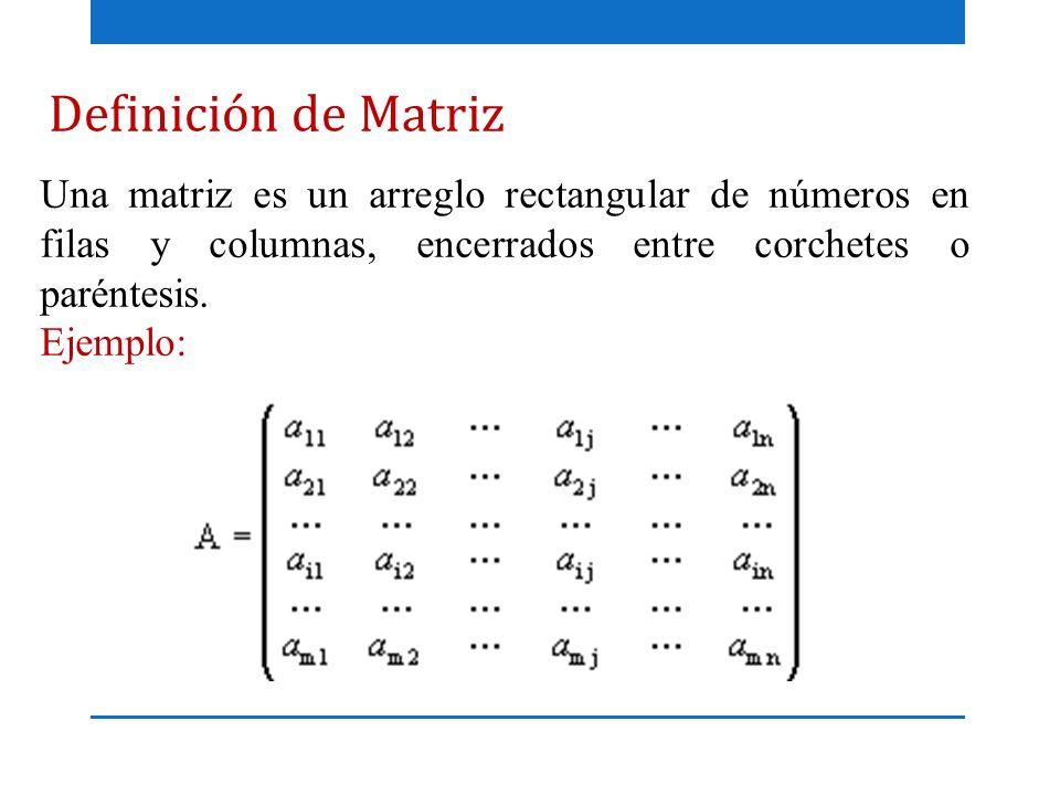 Definición de Matriz Una matriz es un arreglo rectangular de números en filas y columnas, encerrados entre corchetes o paréntesis.