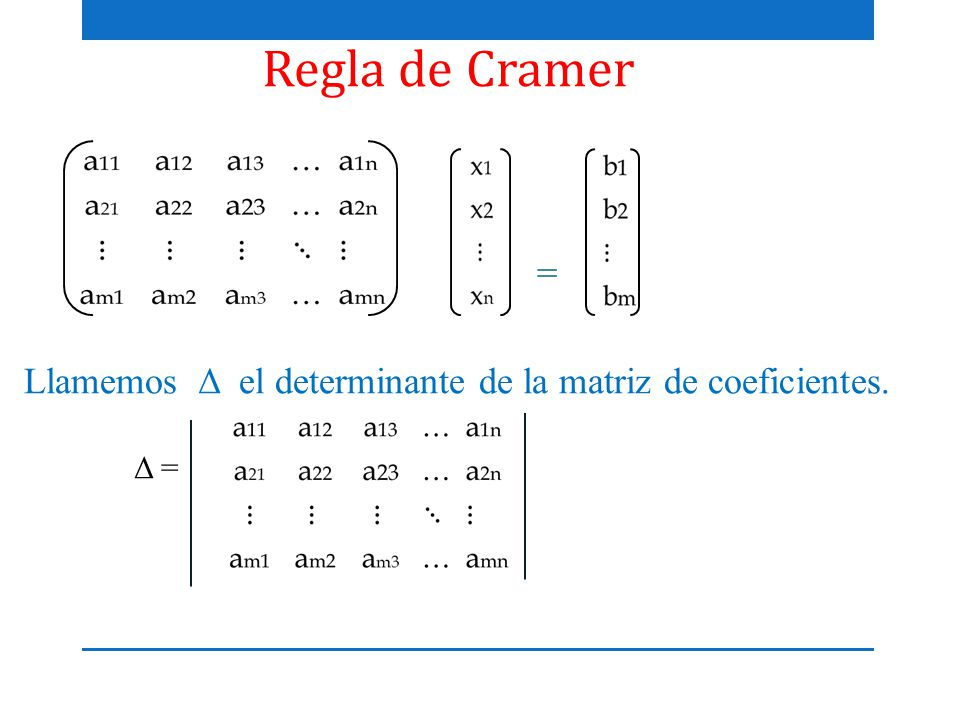 Regla de Cramer = Llamemos Δ el determinante de la matriz de coeficientes. Δ =