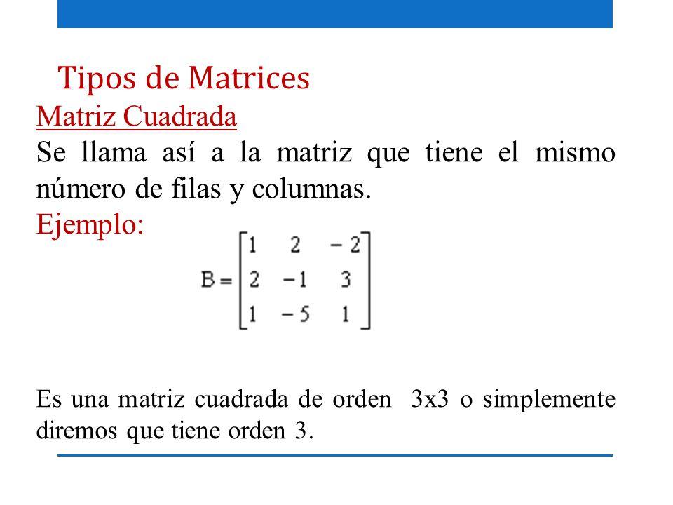 Tipos de Matrices Matriz Cuadrada