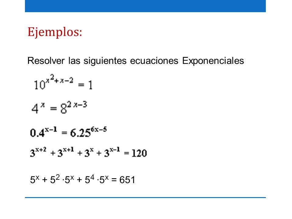 Ejemplos: Resolver las siguientes ecuaciones Exponenciales