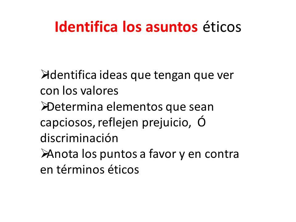Identifica los asuntos éticos