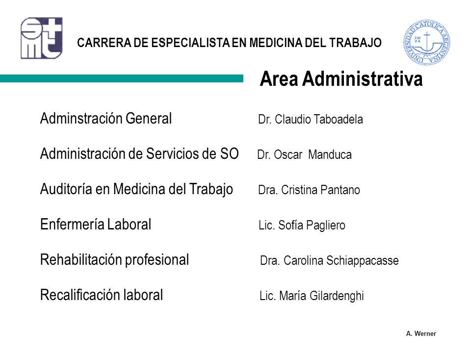 Area Administrativa Adminstración General Dr. Claudio Taboadela
