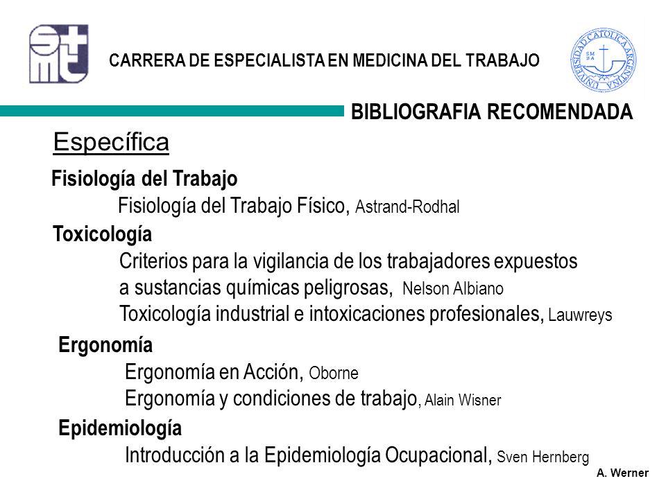 Específica BIBLIOGRAFIA RECOMENDADA Fisiología del Trabajo