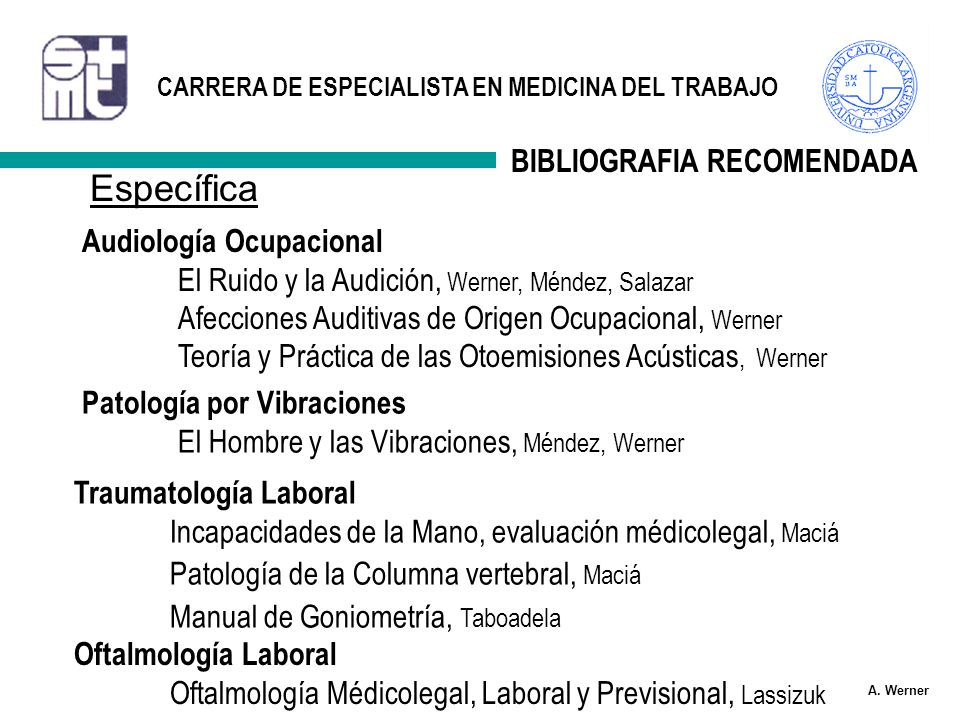 Específica BIBLIOGRAFIA RECOMENDADA Audiología Ocupacional