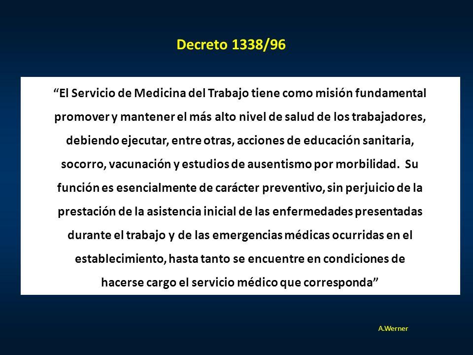 Decreto 1338/96 El Servicio de Medicina del Trabajo tiene como misión fundamental.