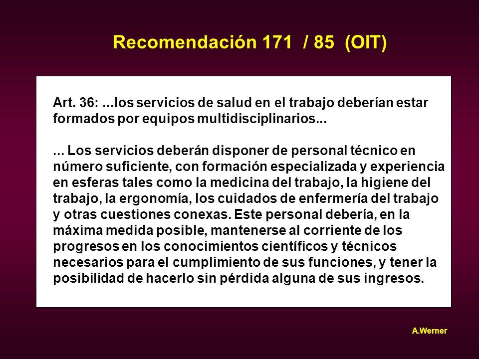 Recomendación 171 / 85 (OIT) Art. 36: ...los servicios de salud en el trabajo deberían estar. formados por equipos multidisciplinarios...