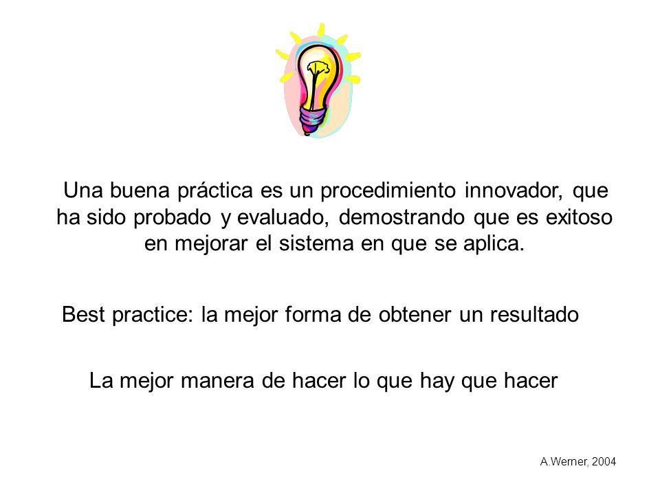 Una buena práctica es un procedimiento innovador, que