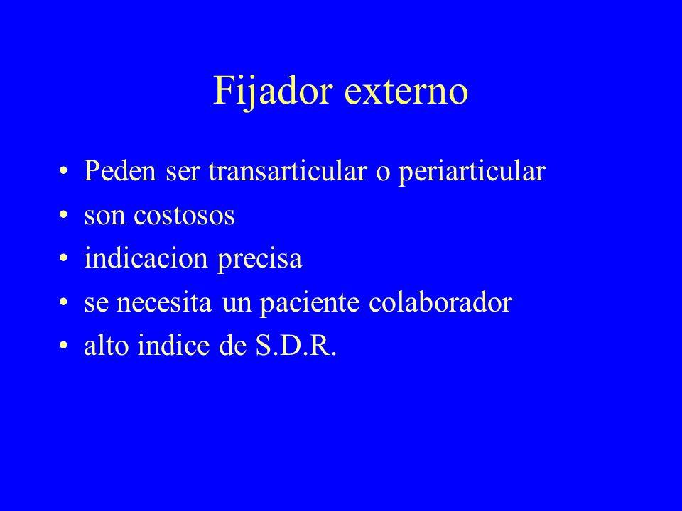Fijador externo Peden ser transarticular o periarticular son costosos