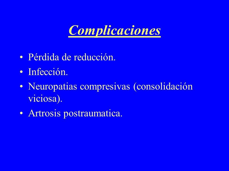 Complicaciones Pérdida de reducción. Infección.