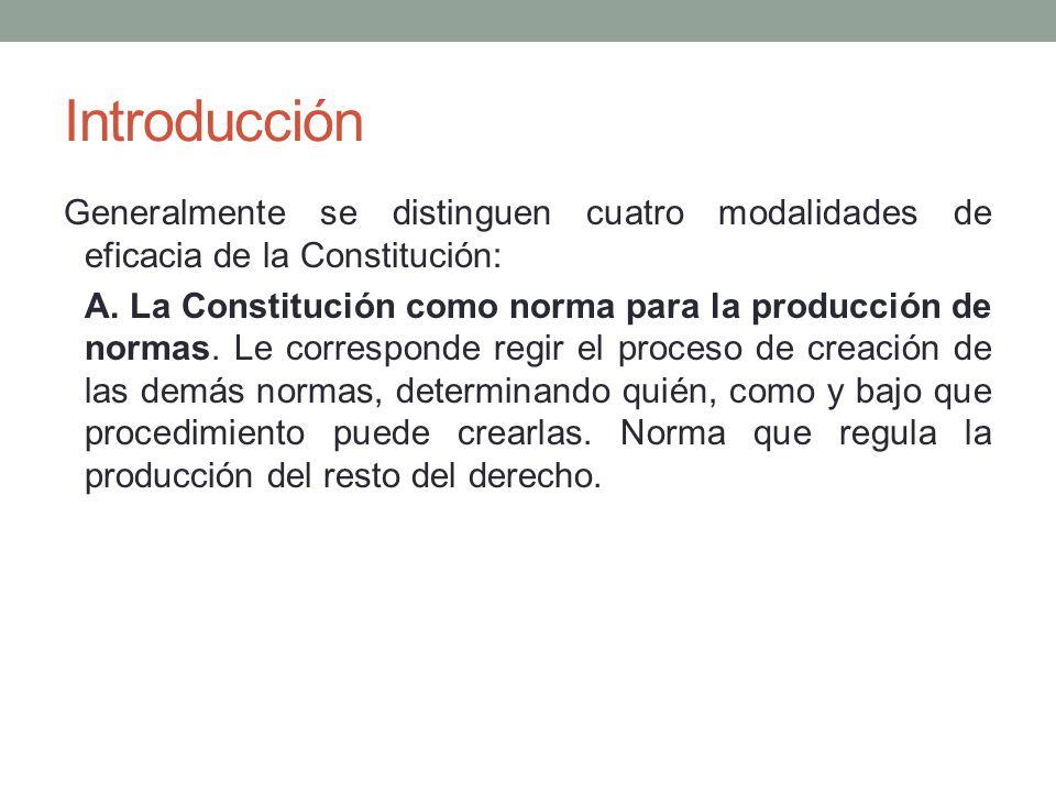 Introducción Generalmente se distinguen cuatro modalidades de eficacia de la Constitución: