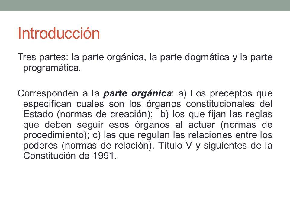 Introducción Tres partes: la parte orgánica, la parte dogmática y la parte programática.