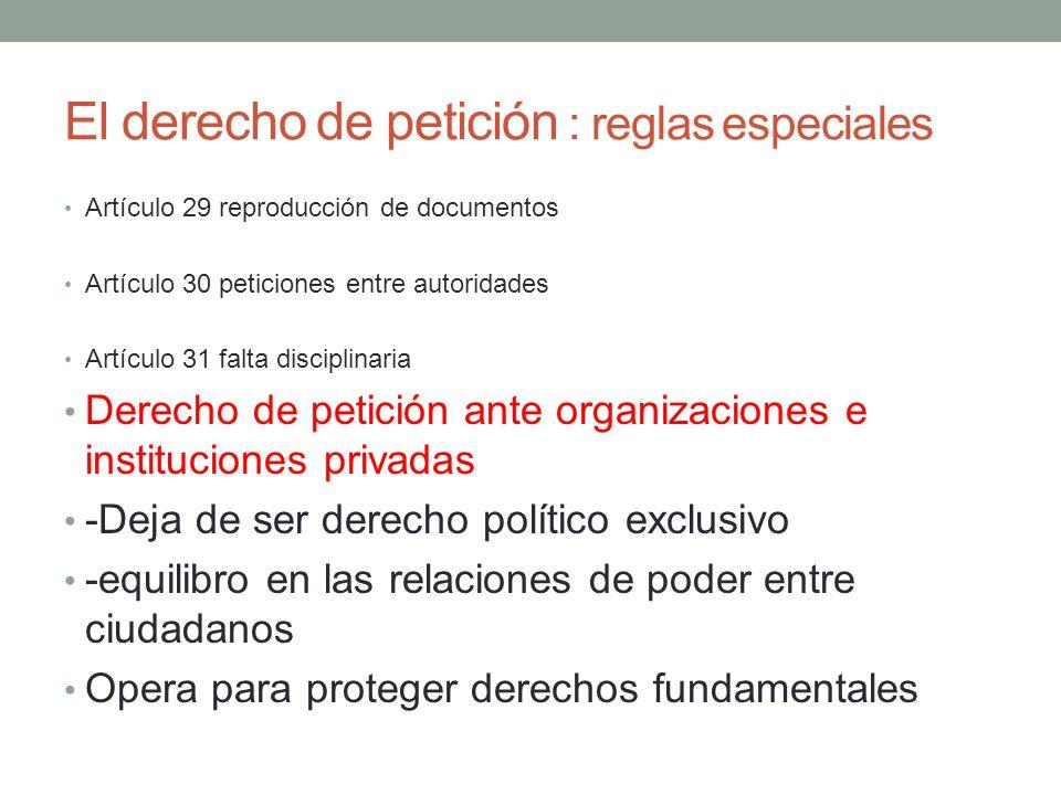 El derecho de petición : reglas especiales