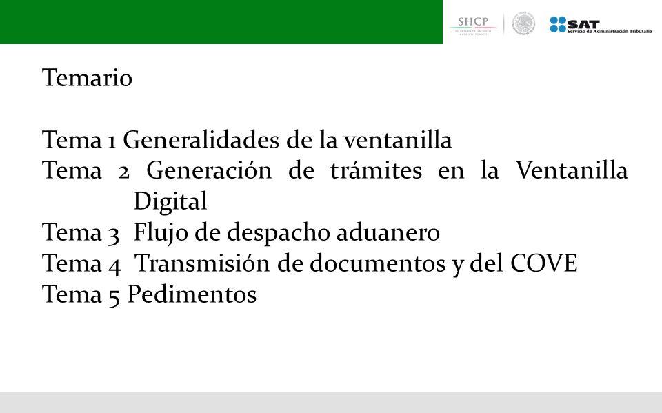 Temario Tema 1 Generalidades de la ventanilla. Tema 2 Generación de trámites en la Ventanilla Digital.