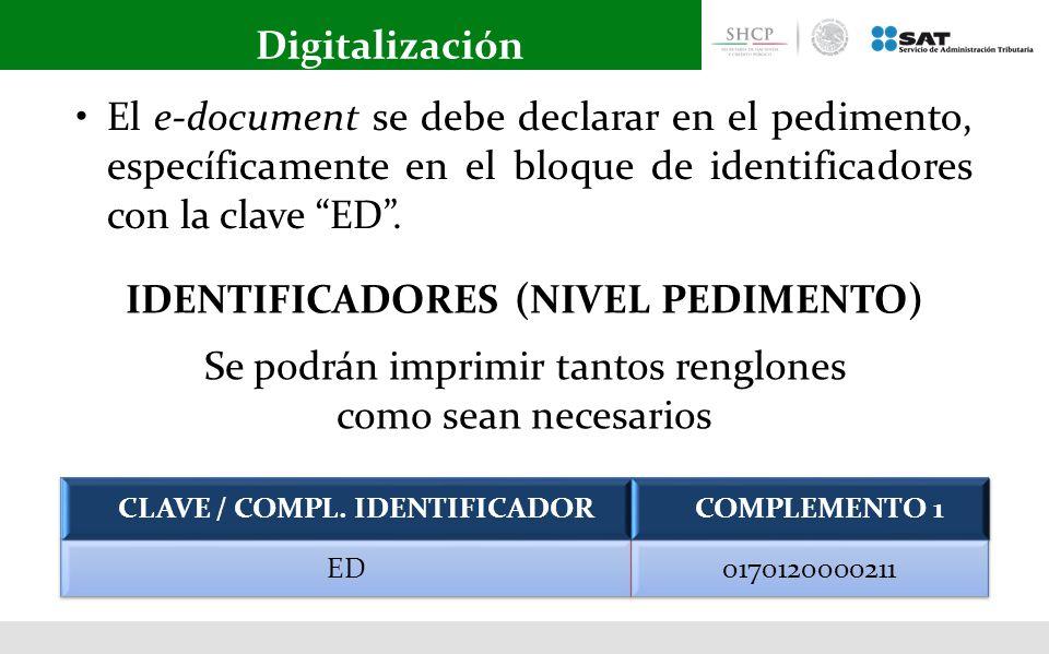 IDENTIFICADORES (NIVEL PEDIMENTO) CLAVE / COMPL. IDENTIFICADOR