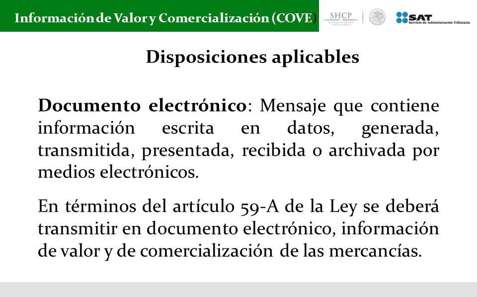 Información de Valor y Comercialización (COVE)