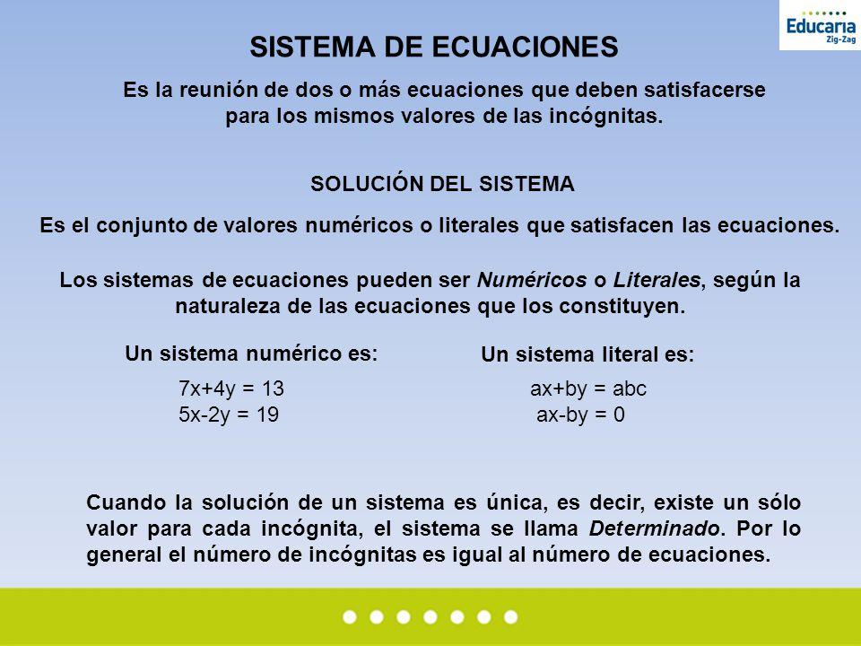SISTEMA DE ECUACIONES Es la reunión de dos o más ecuaciones que deben satisfacerse para los mismos valores de las incógnitas.