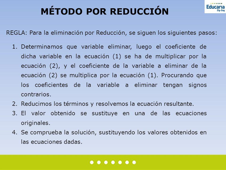 MÉTODO POR REDUCCIÓN REGLA: Para la eliminación por Reducción, se siguen los siguientes pasos: