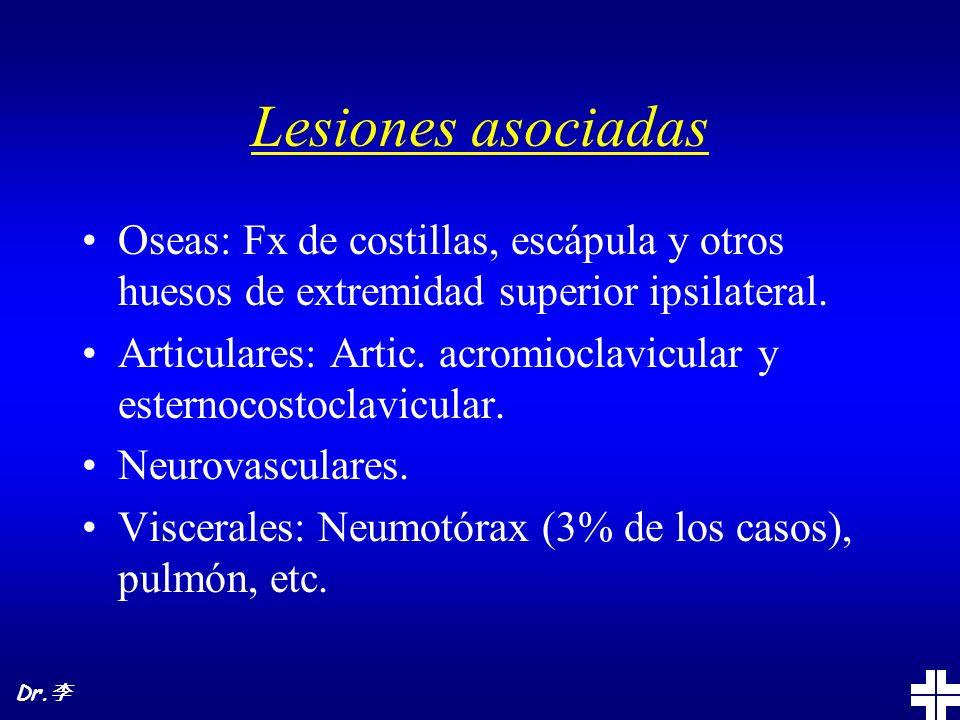 Lesiones asociadas Oseas: Fx de costillas, escápula y otros huesos de extremidad superior ipsilateral.
