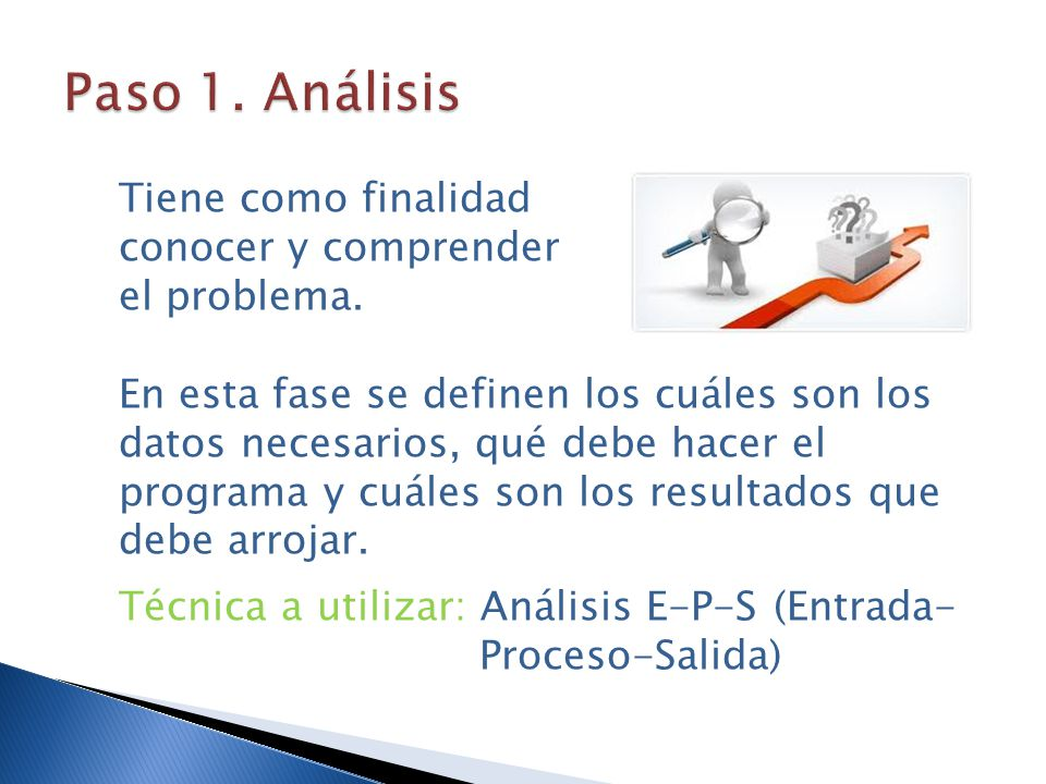 Paso 1. Análisis Tiene como finalidad conocer y comprender el problema.