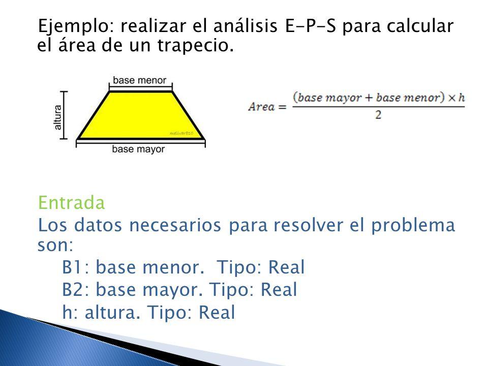 Ejemplo: realizar el análisis E-P-S para calcular el área de un trapecio.