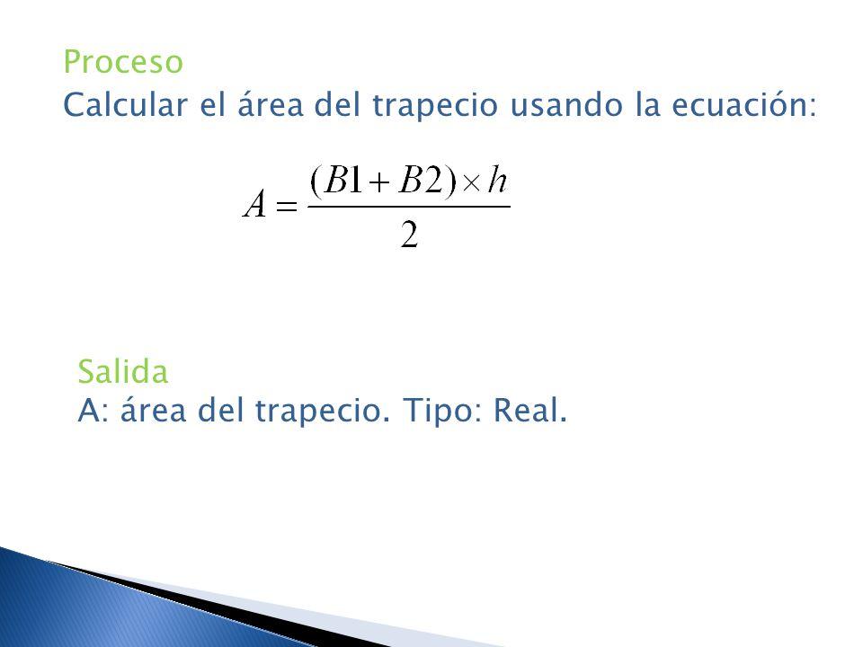 Proceso Calcular el área del trapecio usando la ecuación: