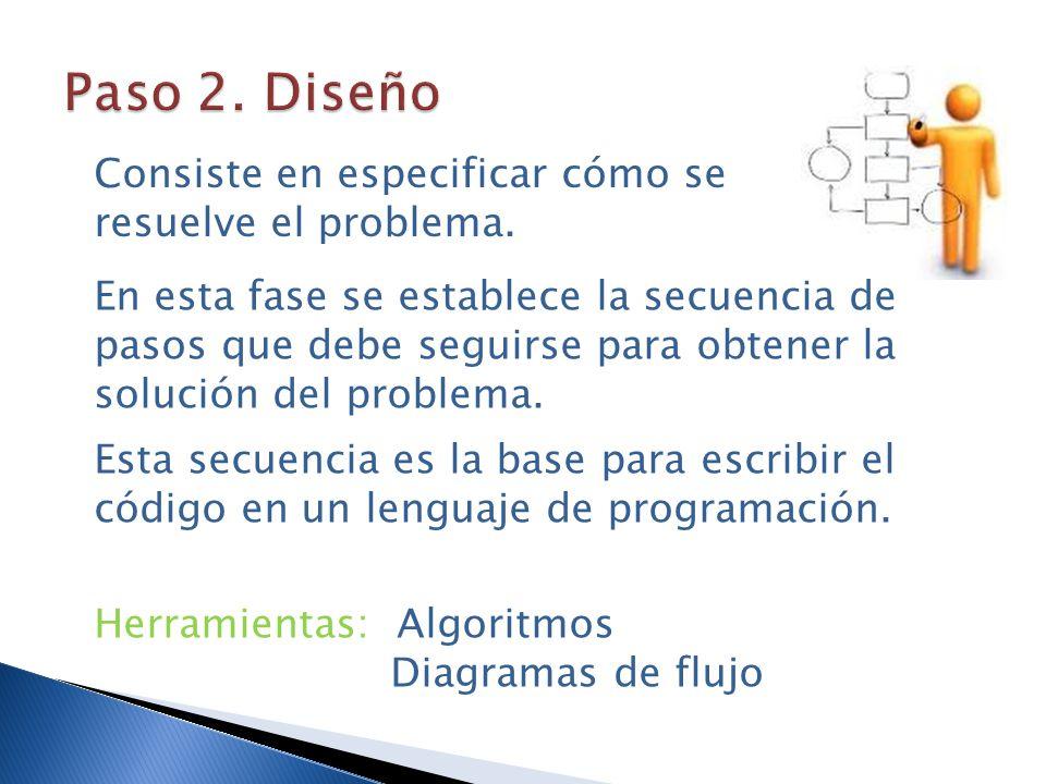 Paso 2. Diseño Consiste en especificar cómo se resuelve el problema.