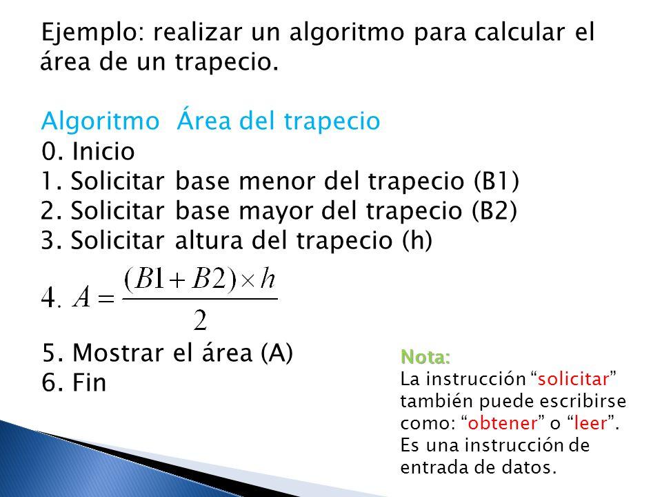 Ejemplo: realizar un algoritmo para calcular el área de un trapecio.