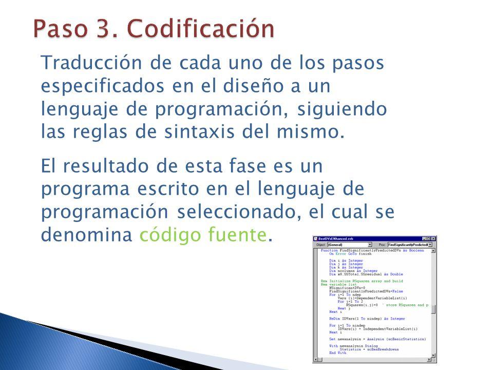 Paso 3. Codificación